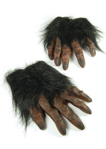Gants de loup-garou mains poilues brunes
