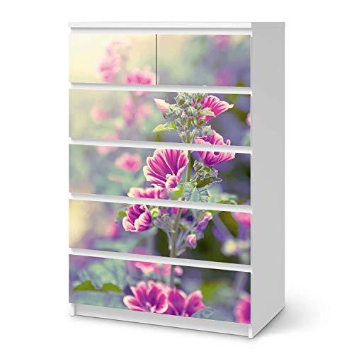 creatisto Möbel Klebefolie passend für IKEA Malm Kommode 6 Schubladen (hoch) I Möbelsticker - Möbel-Aufkleber Folie Tattoo I Wohndeko für Wohnzimmer und Schlafzimmer - Design: Flower Gaze