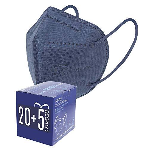 Mascarillas FFP2. 20 + 5 de Regalo. Mascarillas ultra protección. 5 capas. Homologada. Certificado CE EN149:2001+A1:2009 FFP2 NR. Caja 20 + 5 Unidades de REGALO. PACK PAULA ALONSO (25 AZULES)