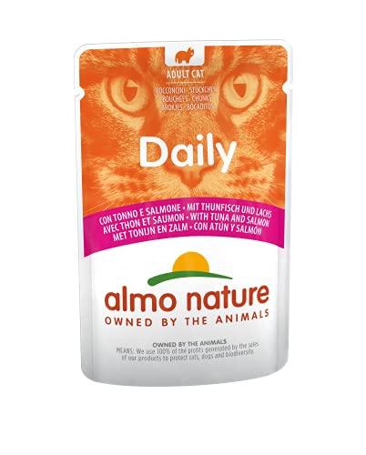 almo nature - Cibo Umido per Gatti Adulti Senza glutine con tonno e Salmone, Confezione da 30 bustine da 70 g.