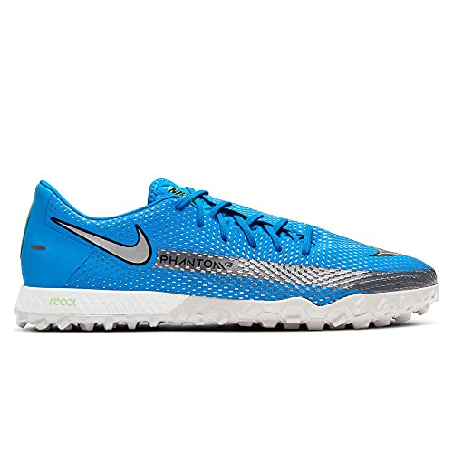 Nike React Phantom GT PRO TF, Scarpe Turf Soccer Unisex-Adulto, Photo Blue Metallic Silver Rage Green, 40 EU