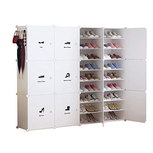 Organizador de zapatero Almacenamiento portátil de zapatos 54 pares de cajas de almacenamiento de zapatos, perchero independiente expandible Durable y estable ( Color : Blanco , Size : 164x32x139cm )