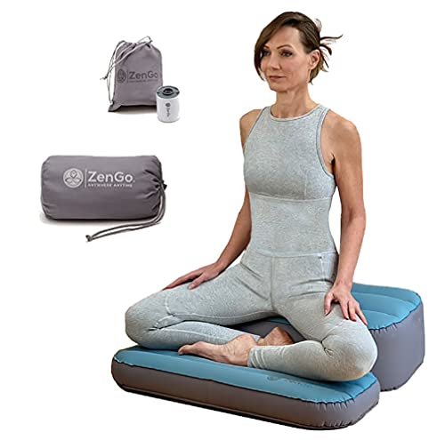 """Air-Comfort Inflatable Meditation And Yoga Cushion Set by ZenGo™ - Seat (Zafu) + Mat (Zabuton)⎟ Yoga Bolsters - Two Sizes⎟ Includes Multi-Use Inflator ⎟ Indoor and Outdoor Use ⎟High Seat [5.5""""-9""""]"""