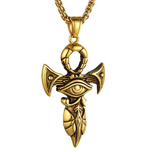 Goldchic Sieraden Egyptische Kruis/Oog Van Horus/Ankh Ketting, Roestvrij Staal Oude Egyptische Geluksbescherming Sieraden