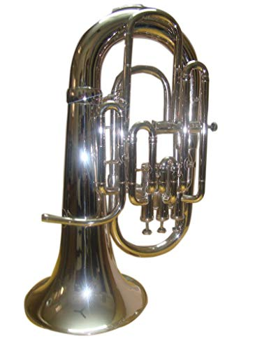 SM Sai Musical Bb 4 VALVE EUPHONIUM Low Pitch Brass Musical Instrument NICKEL for Beginners With Cushioned Hard Case