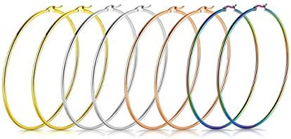 Earmark Stainless Steel Medium Rounded Tube Hoop Earrings Set for Women Girl Top click Clasp product image