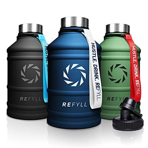 REFYLL Botella de acero inoxidable 'Hero' en 2,2 l, botella de fitness para deportes, gimnasio, resistente a las fugas, robusta, sin BPA, incluye tapa deportiva (azul marino)