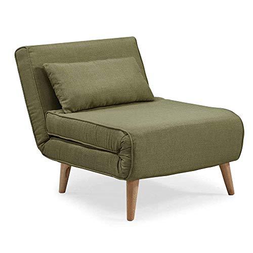 DecoInParis Tonka - Sillón cama, de tejido (verde)