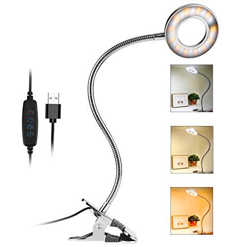 Nasharia - Lámpara de lectura con pinza para cama 24 ledes, 3 niveles, temperatura de color y 10 niveles de brillo, intensidad regulable, protección para los ojos, lámpara de escritorio para niños