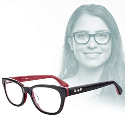 Edison & King Lesebrille – Moderne Acetat Kunststoffbrille mit Entspiegelung und Härtung Stärken (Schwarz-Rot, 1,50 dpt)