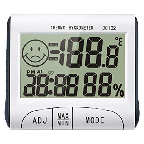 Thermometer Digital Innengebrauch Temperatur, Feuchtemessgerät Haushaltstemperaturanzeige Thermometer Hygrometer Uhr Mit Einfach Ablesbarer LCD Anzeige