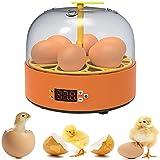 WEDSFC Incubadora Automática para 6 Huevos con Control De Temperatura Digital - para La Cría De Aves De Corral - Pollo, Pato, Codorniz,Manual