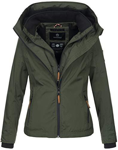 Marikoo Designer Damen Übergangs Jacke leicht gefüttert Kapuze kurz B659 [B659-Erdbeer-Olive-Gr.XXL]