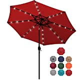 Blissun 9 ft Solar Umbrella 32 LED Lighted Patio Umbrella Table Market Umbrella with Tilt and Crank...