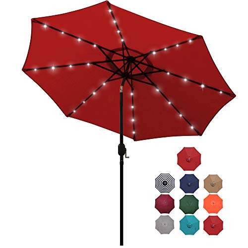 Blissun 9 ft Solar Umbrella 32 LED Lighted Patio Umbrella Table Market Umbrella with Tilt and Crank Outdoor Umbrella for Garden,...