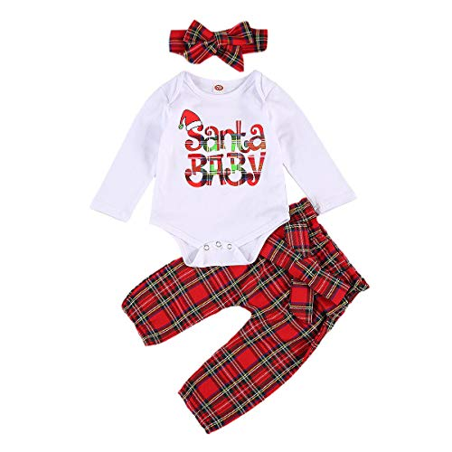 Newborn Baby Girls Christmas Clothes Ruffle Sleeve Romper Bodysuit+Plaid Pants+Headband My First Christmas Outfit 0-24M (Red E, 0-6M)