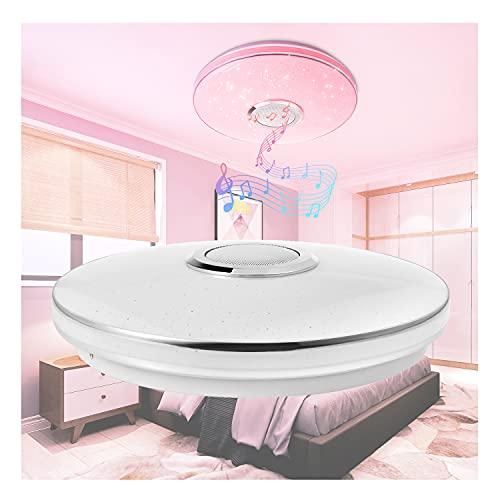 HAOXUAN Luz de Techo LED de Arco Iris de 36 W con Control Remoto, Altavoz Bluetooth de música, Control de aplicación, lámpara Moderna Que Cambia de Color RGB Regulable