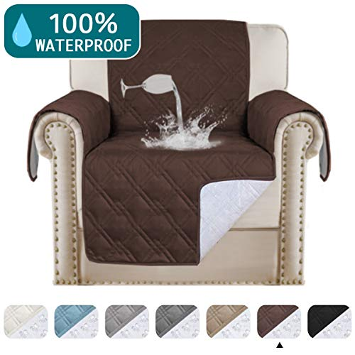 100% Waterproof Chair Covers For Dogs Non Slip Chair Protector for Living Room Furniture Protector Pet Friendly Quilted Couch Protector Waterproof Furniture Chair Slipcover (Chair 21', Brown)