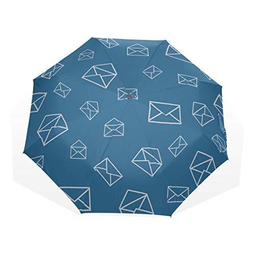 Folding Umbrellas Compact Lightweight Windproof Romantic Love Expressive Envelope 3 Fold Art Umbrellas(outside Printing) Bike Rain Umbrella Best Compact Umbrella Travel Umbrella For Women