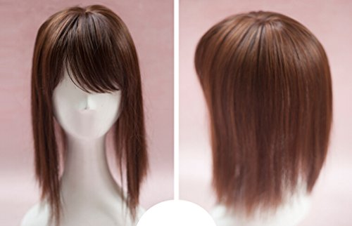 BESTLEE 14 Synthetic Hair Mono Hair Topper for Hair Loss Clip in Hair Top Piece with Air Bangs (Thin Style, Brown)