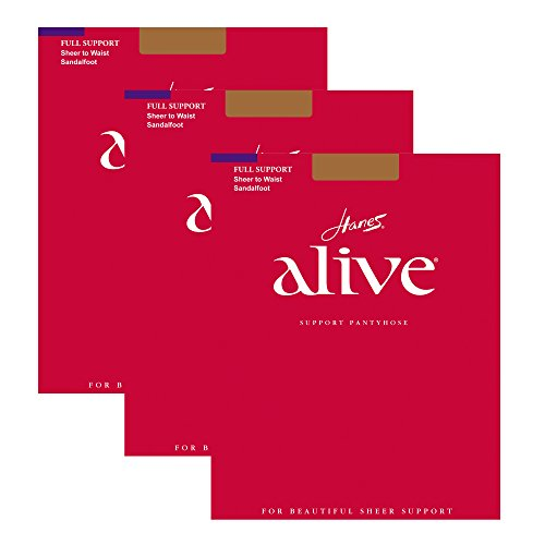 Hanes Women`s Set of 3 Alive Sheer to Waist Pantyhose - Best-Seller! C, South Pacific
