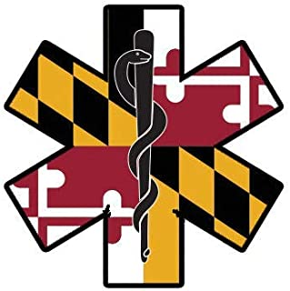 ION Graphics Maryland State Shaped EMT Flag Sticker Die Cut Vinyl EMS Paramedic MD 5