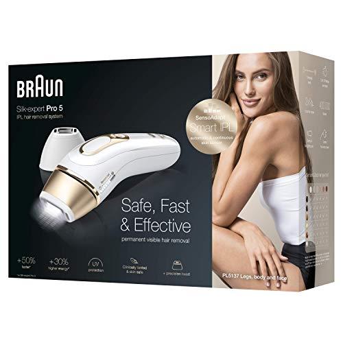 Braun Silk-Expert Pro 5 PL5137 IPL Haarentfernungsgerät für dauerhaft sichtbare Haarentfernung, für Körper und Gesicht, Präzisionsaufsatz für empfindlichere Bereiche, 400.000 Lichtimpulse, weiß/gold - 6