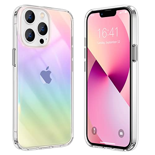 Fansful iPhone 13 Pro Case for Women Girls, Cute Iridescent iPhone 13 Pro Case Clear with Design, Camera Lens & Screen Protection, Stylish FanCase 6.1 Inch - Rainbow Mirror