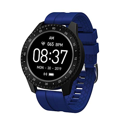 Yumanluo Smartwatch,IP68 a Prueba de Agua, frecuencia cardíaca/presión Arterial/monitorización del sueño: Azul Oscuro,Reloj Inteligente con Pulsómetro