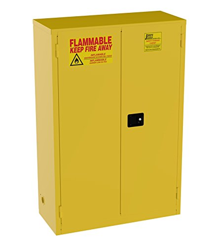 Jamco Products Model BM45 45-Gallon Safety Steel Cabinet for Flammable Liquids Manual Close Doors, (43-Inch x 18-Inch x 65-Inch), Yellow