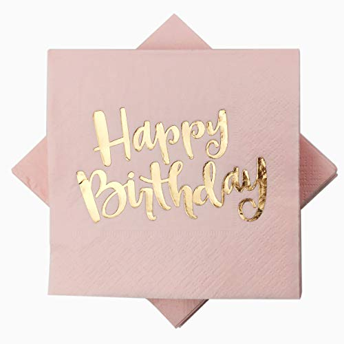 Pink Happy Birthday Cocktail Napkins 100counts 3ply 5 Disposable Rose Gold Foil Paper Napkins Perfect For Mother Girls Happy Birthday Party Buy Online In Aruba At Aruba Desertcart Com Productid 100138383