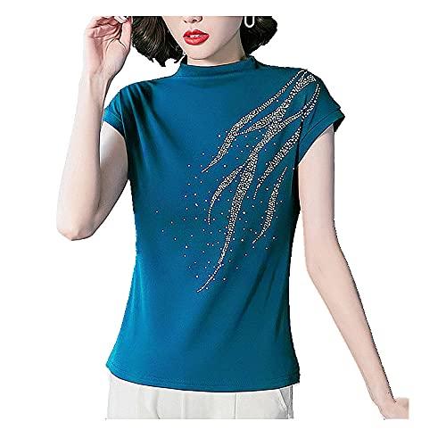 N\P Primavera y verano camiseta delgada base camisa mujer manga corta media cuello alto