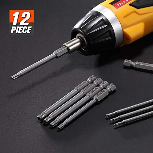 REXBETI Torx Head Screwdriver Bit Set, 1/4 Inch Hex Shank S2 Steel Magnetic 3 Inch Long Drill Bits, T5-T40, 12 Piece