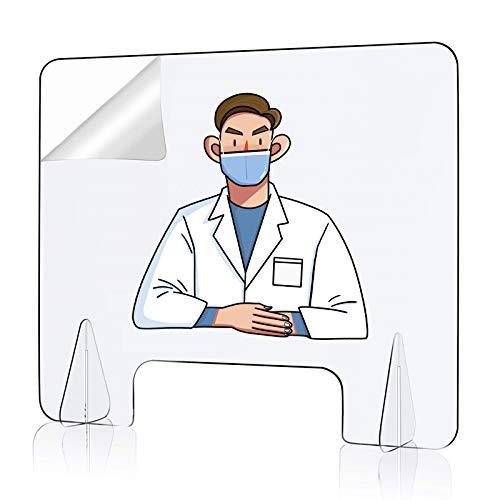 Qijieda Spuckschutz Plexiglas Platten Plexiglasscheibe, 4mm Glasklar Plexiglas Schutzwand, 600 x 500 mm Trennwand Plexiglas mit Durchreiche(300 x 150 mm)