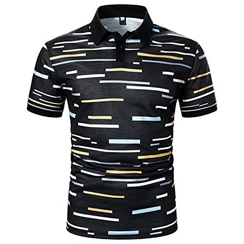 Polo para hombre, camisa de negocios, camisa de manga corta, cuello redondo, corte ajustado, elástico, monocolor, para verano, deporte, tenis, golf, cuello en V Negro_5. M