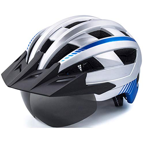 Fahrradhelm ZWRY MTB Fahrradhelm Für Mann Frauen Atmungsaktive Fahrradhelme Licht Sonne Visier Straße Mountainbike Helm 22-24 Zoll Silber Helm 4