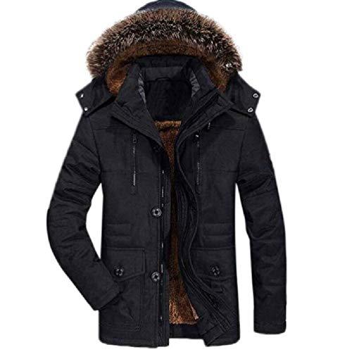 SWEETWU - Chaqueta de invierno para hombre con capucha y cuello de piel gruesa y cálido, abrigo L-6XL, chaqueta de invierno para invierno, chaqueta de invierno para hombre