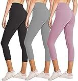FULLSOFT 3 Pack Capri Leggings for Women Butt Lift-High Waisted Tummy Control Black Workout Yoga Pants (3 Pack Capri Black,Light Gray,Rosy Brown,Small-Medium)