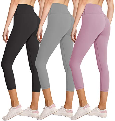 3 Pack Capri Leggings for Women Butt Lift-High Waisted Tummy Control Black Workout Yoga Pants (3 Pack Capri Black,Light Gray,Rosy Brown,Small-Medium)