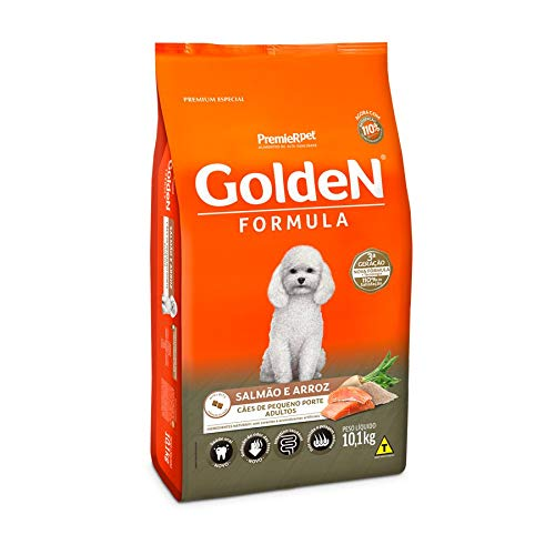 Ração Golden Fórmula Mini Bits para Cães Adultos de Pequeno Porte Sabor Salmão e Arroz, 10,1kg Premier Pet Para Todas Pequeno Adulto,