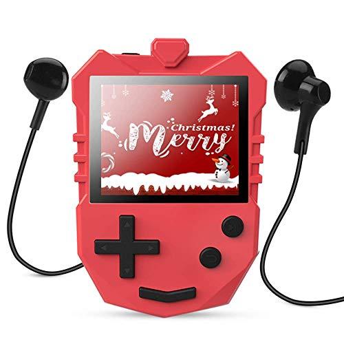 AGPTEK kinder mp3 speler 8 GB met luidspreker, muziekspeler met 1,8 TFT kleurenscherm, spraakopname, A-B herhaling en games ondersteunt tot 128 GB geheugenkaart, rood