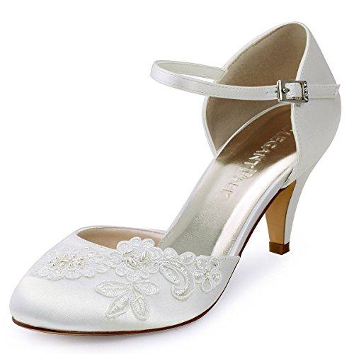 Elegantpark HC1604 Ivory Damen Geschlossene Zehen Stickerei Perlen Satin Brautschuhe EU 38