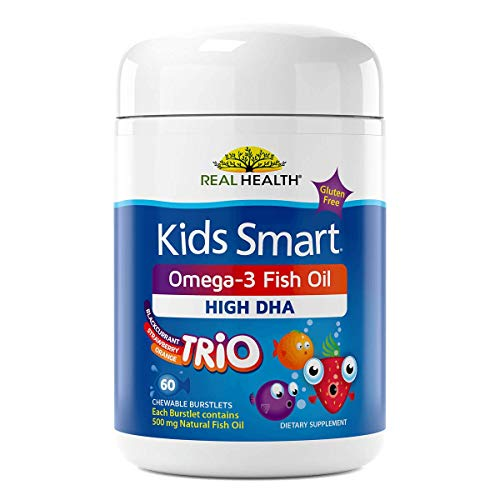 Real Health Kids Smart Trios Omega-3 Fish Oil Chewable Supplements, 60 Count