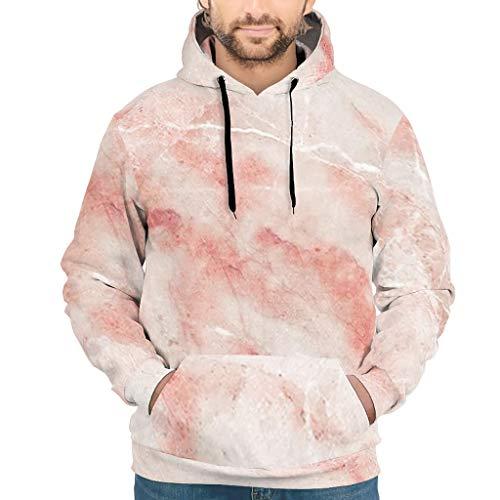 Knowikonwn Sudadera con capucha para hombre, textura de mármol, divertida, tono fresco con bolsillo frontal, color blanco 4 2XL