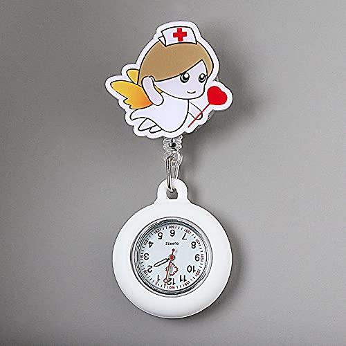YYMY Enfermera Reloj con Clip,Cofre de Enfermera Lindo luz de Noche, atención médica telescópica Impermeable-Blanco 7