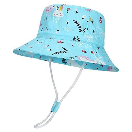 MASOCIO Sombrero de Sol para Bebé Niños Verano Gorro de ala Ancha Protección Solar Ajustable para Exteriores Playa