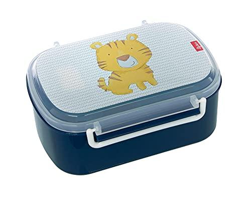 SIGIKID 25174 Brotzeitbox Tiger Brotzeitbox BPA-frei Mädchen und Jungen Lunchbox empfohlen ab 2 Jahren blau