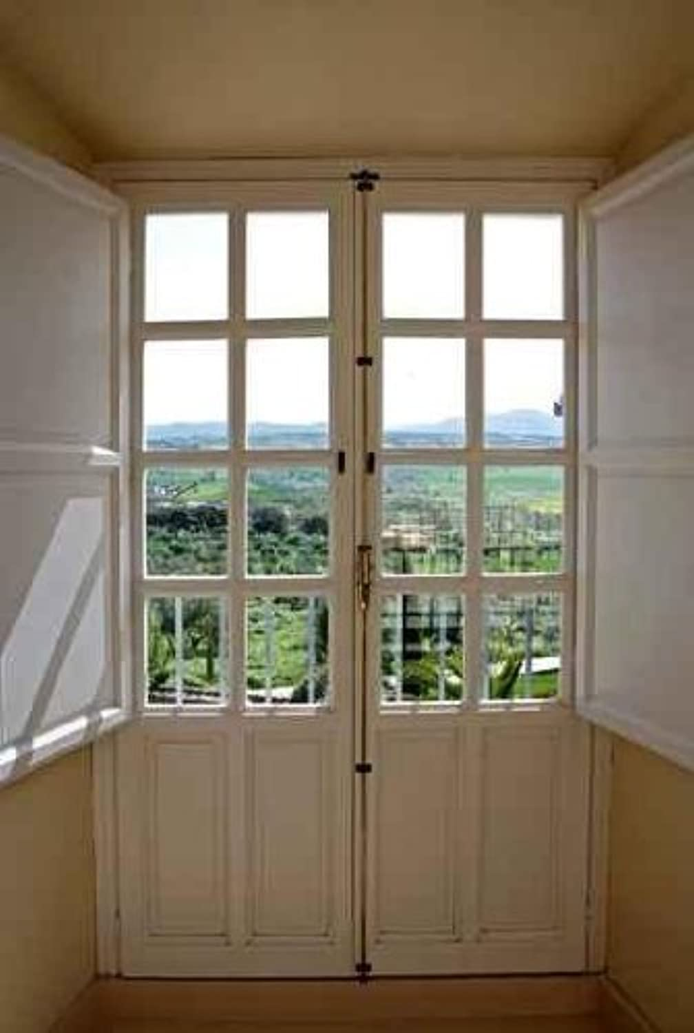 Wallmonkeys View Through Wooden Doors to Countryside - 110cm H x 70cm W - Peel and Stick Wall Decal