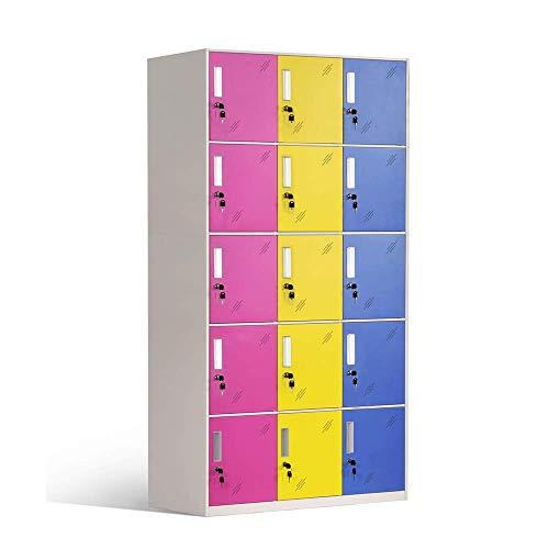 Racking Solutions 15 Door Metal Storage Lockers Multicoloured Steel Lockable Unit, Staff Gym School Changing 1850mm H x 900mm W x 400mm D