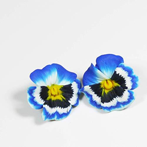 Blumen Ohrringe mit floralem Motiv Stiefmütterchen/Hornveilchen